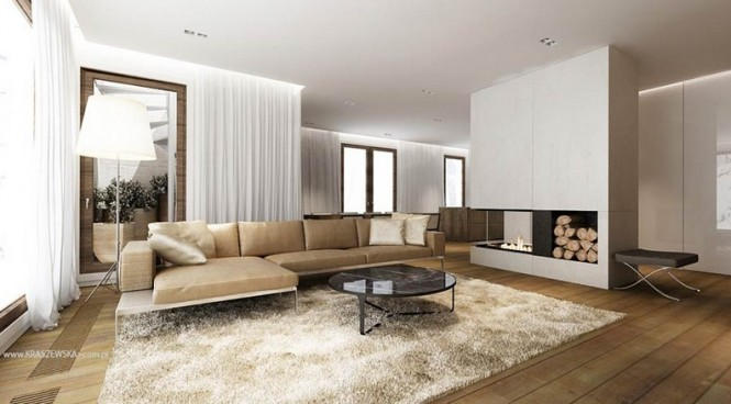 Plain walls have been softened in this space with the introduction of soft voiles that run the entire distance between windows, rather than only edging them.
