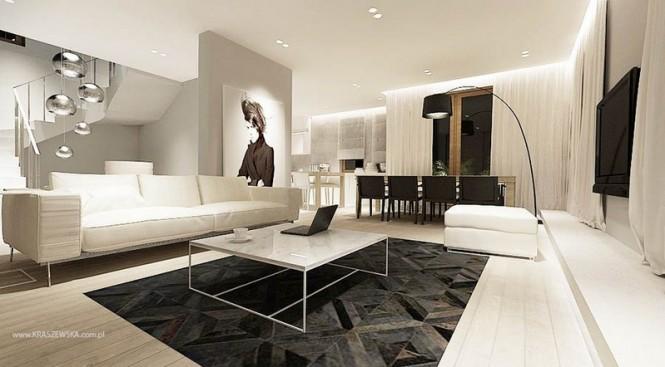 Modern monochrome living room decor