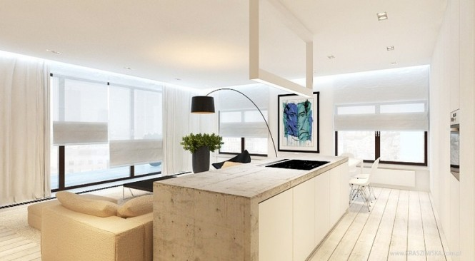 White cream kitchen lounge