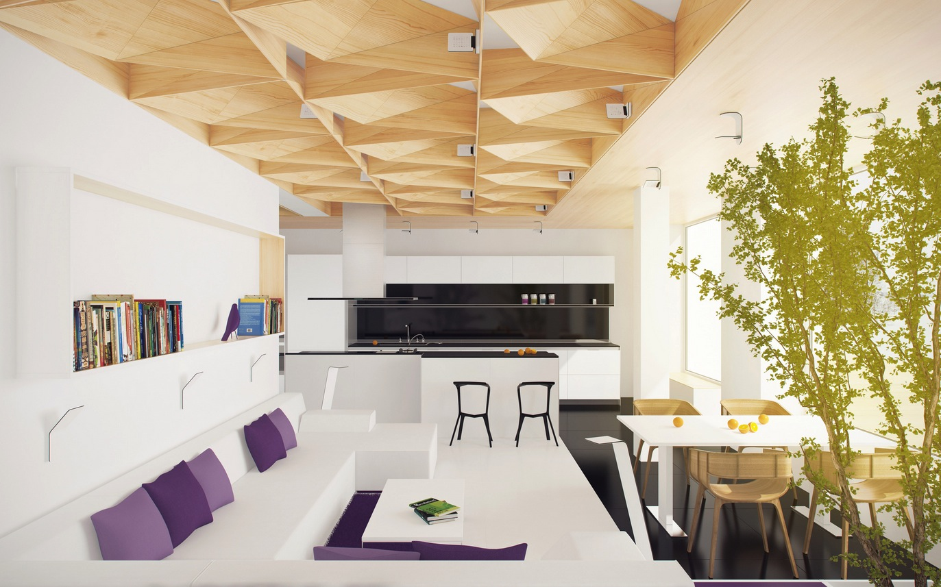 White Kitchen Lounge Interior Design Ideas