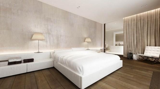 White platform bed bedsides