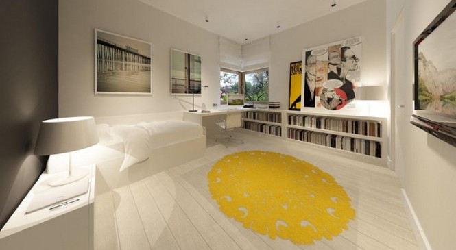 Yellow white bedroom