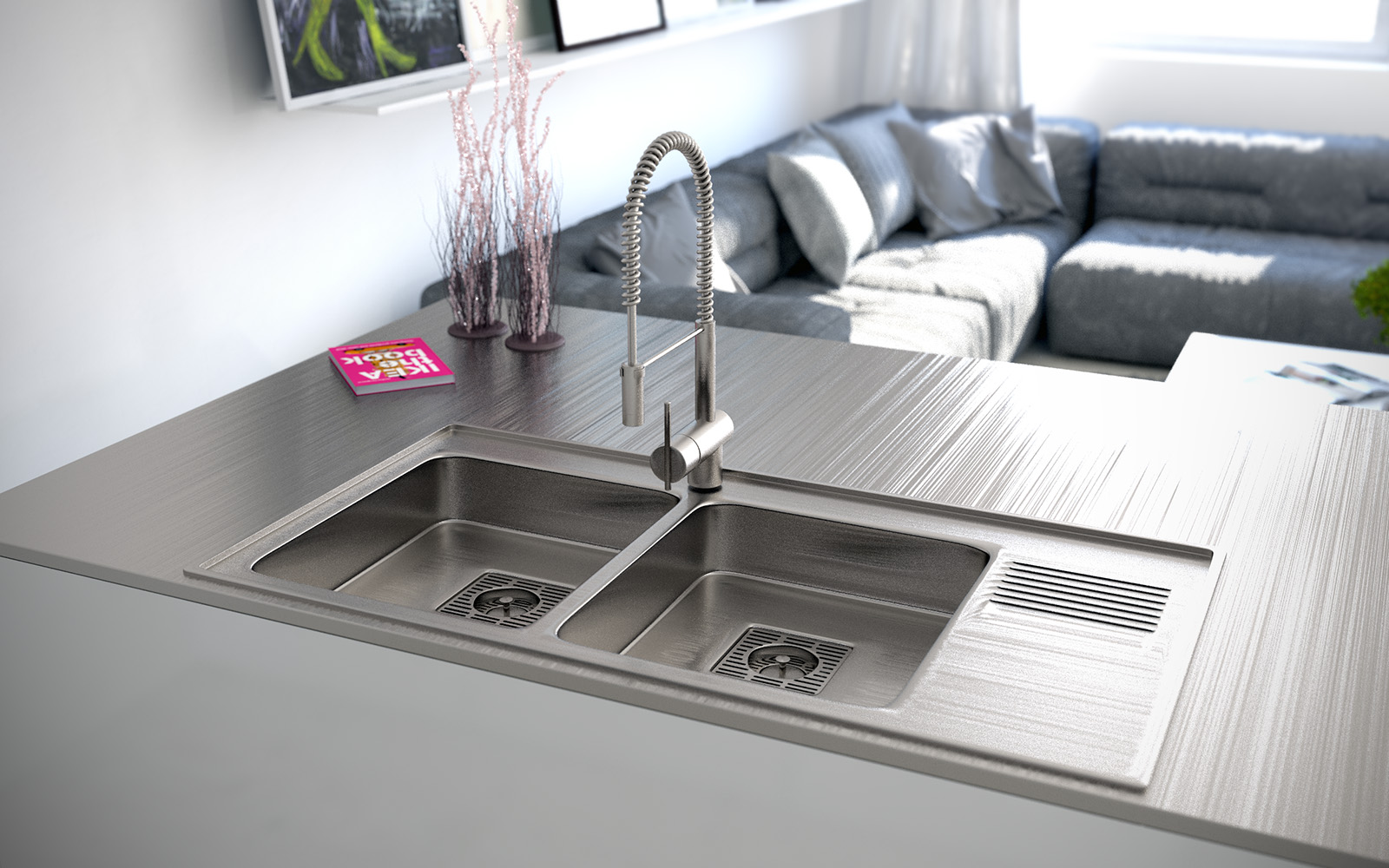 Stainless steel double sink  Interior Design Ideas