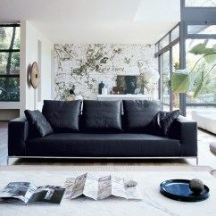 Black Leather Sofa Design Ideas Single Cushion Uk Interior