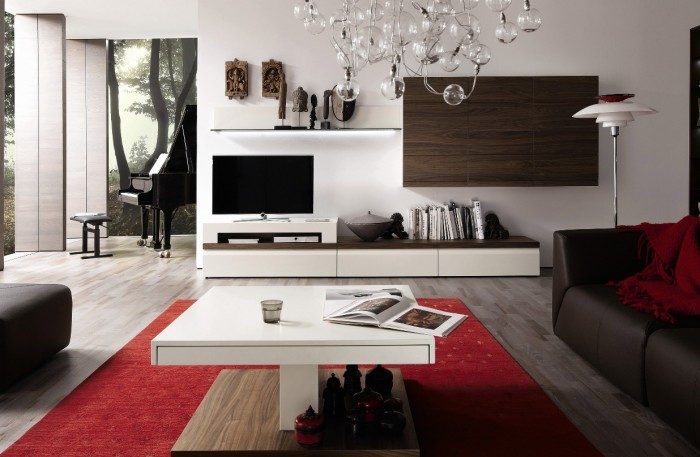 White media center with wall unit