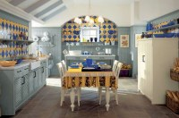 blue and yellow tile country kitchen | Interior Design Ideas.