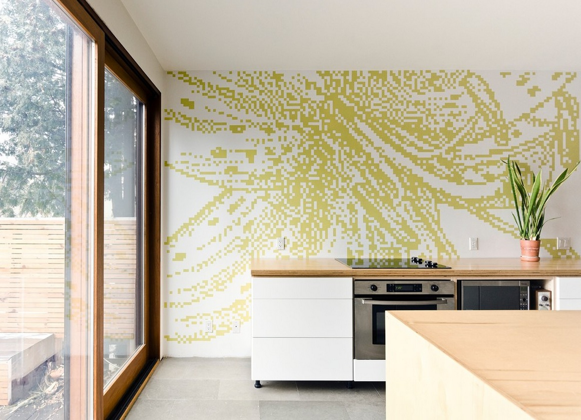 wall designs for kitchen blue rug graphic pixilated interior design ideas