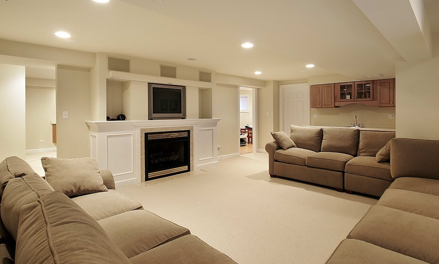 basement living rooms room paint ideas with cream furniture 30 remodeling inspiration