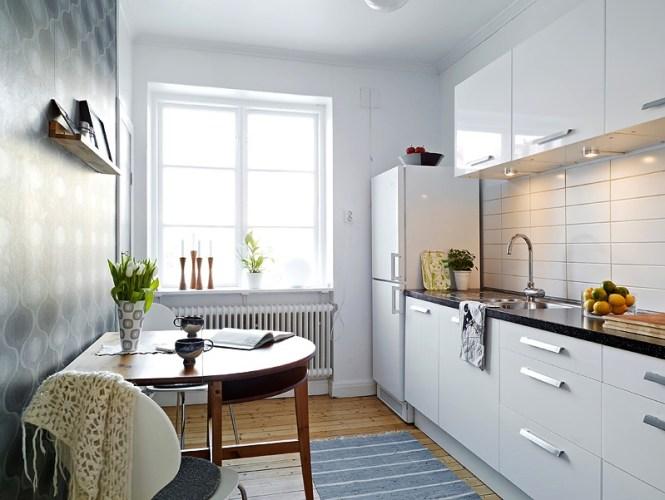 White Small Apartment Kitchen Interior Design Ideas