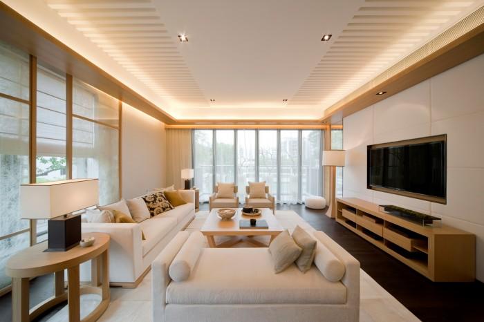 blonde wood and cream living minimal window treatment living steve leung