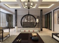 oriental stencil feature wall monochrome living china ...