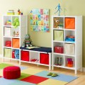 Cube storage in primary colors childs playroom