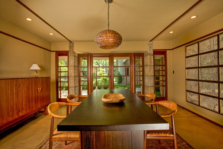 Frank Lloyd Wright Millard House Open Plan Dining Doors To