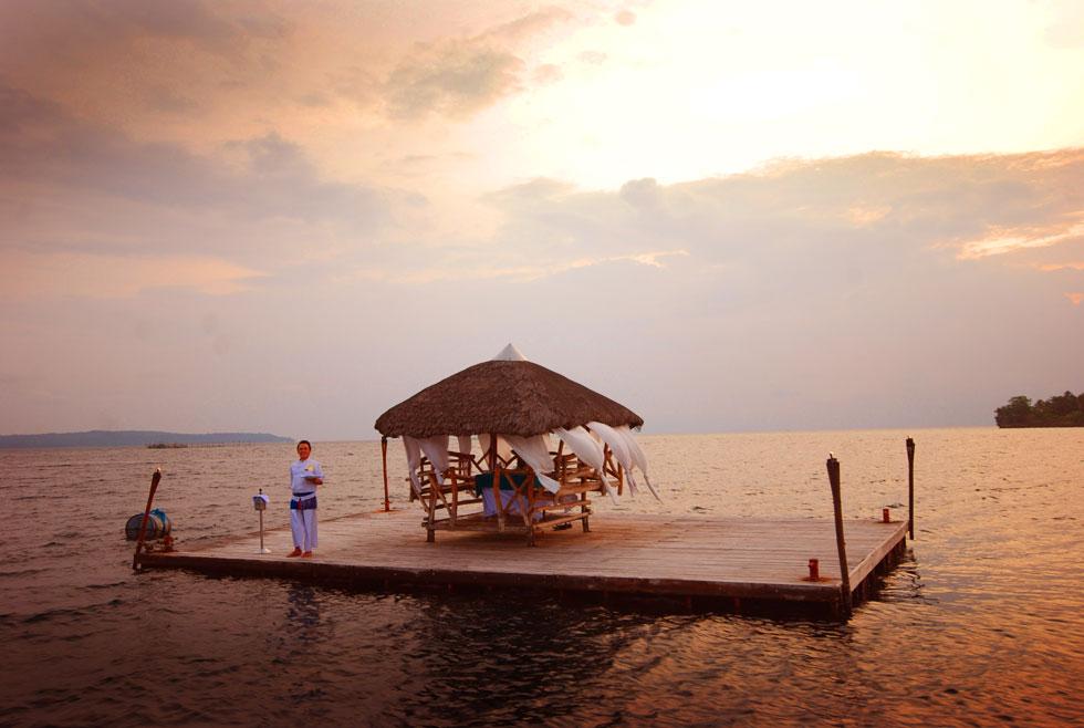 Pearl Farm Hotel floating dinner on raft bungalow  Interior Design Ideas