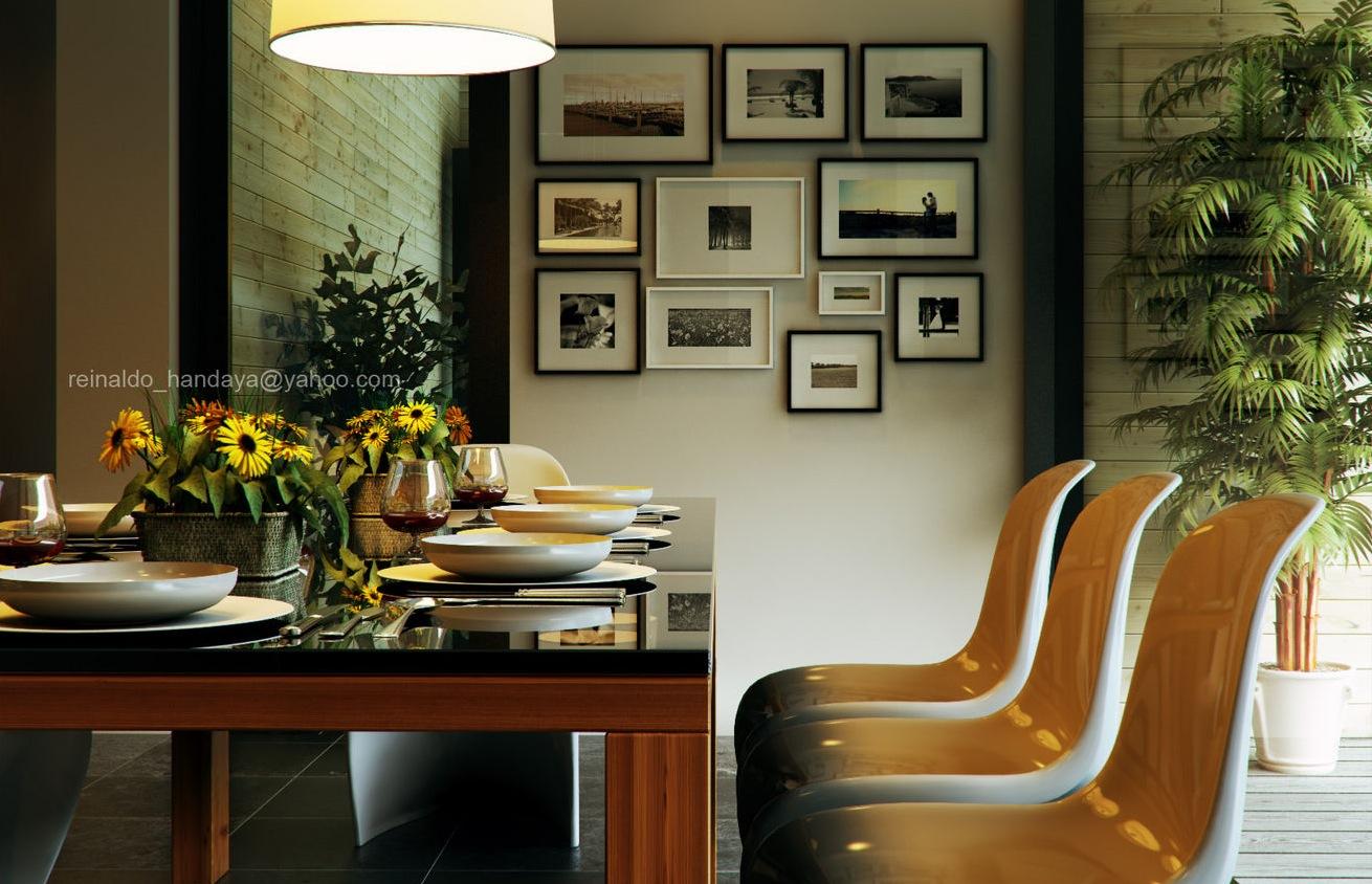Gallery art wall Retro Modern Dining by Reinaldo Framed