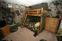 camouflage boys room with bunk beds