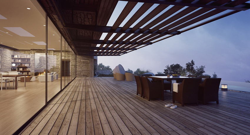 outdoor dining modern villa with view at dusk  Interior