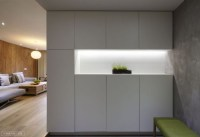 simple storage with well-lit niche containing modest plant ...
