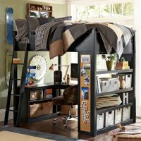 skateboard themed bunk bed with workspace boys room ...