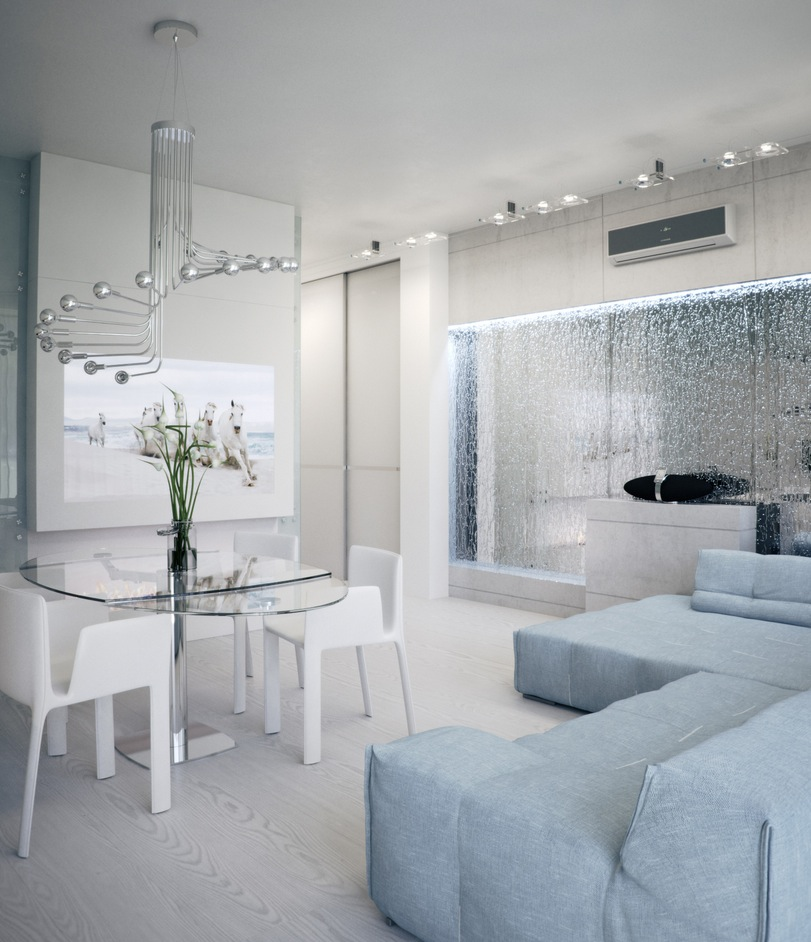 Alexander Lysak Visualization open plan living dining with mirrored water feature wall