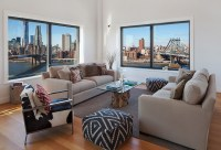 Clock Tower Apartment- neutral sitting area with views to ...