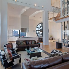Open Plan Staircase In Living Room Paint Colors For With Dark Wood Trim Clock Tower Apartment White Glass Panelled Like Architecture Interior Design Follow Us