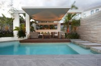 Custom Pool Area- covered outdoor lounge patio uplit with ...