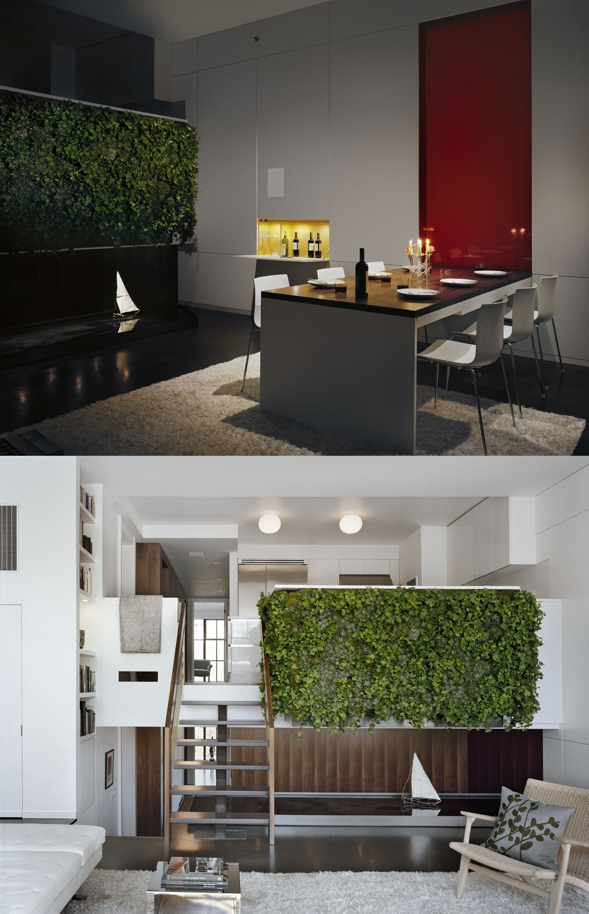 Pulltab Design living green wall with water feature shallow pond for irrigation  Interior