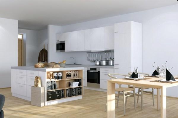 studio apartment kitchen Scandinavian & Parisian Apartments In White