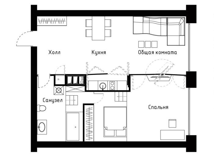 Transformer Apartment Floor Plan 60 Sqm 1 Bedroom Interior Design