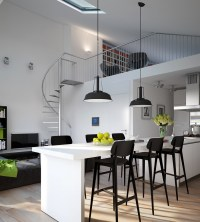 Triple D- Modern Monochrome Green Apartment kitchen dining ...