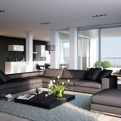 Open Plan Kitchen Living Room Design Ideas Contemporary Furniture Sets Uk Triple D Modern White Stone And Blonde Wood Apartment