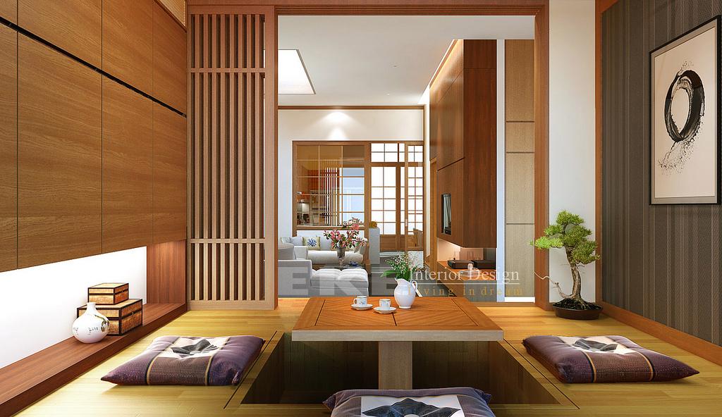 Tuananh Ekes Oriental Sunken Dining In Wood With Bonsai