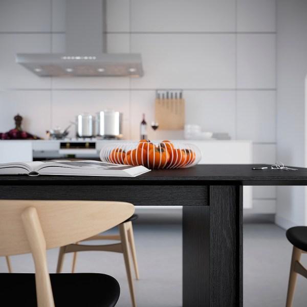 White Symmetrical Kitchen- Wire Fruit Basket Oranges
