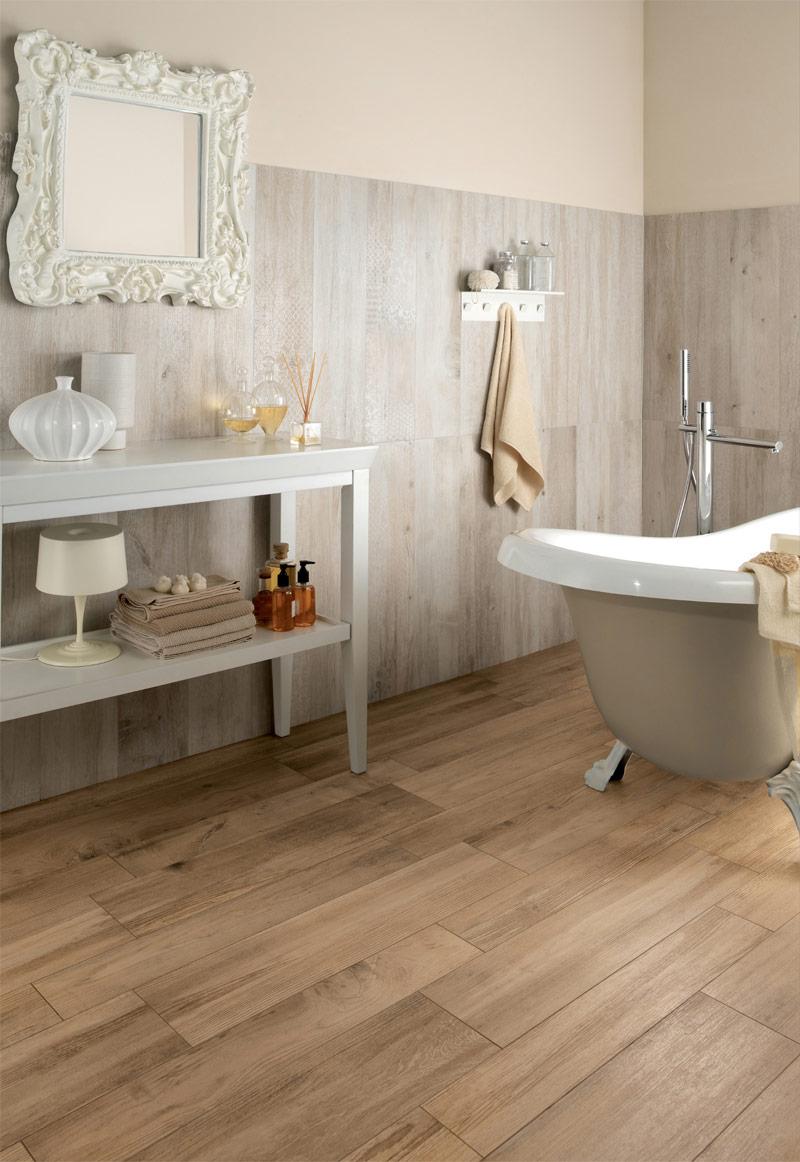 medium rough wooden floor tiles in bathroom  Interior