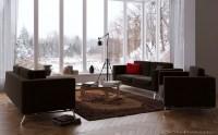 25Creative- chocolate living room with windowed wall ...