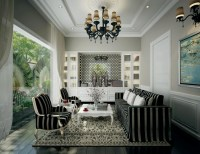 Dramatic black and white living with chandelier   Interior ...