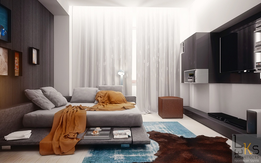 Leks Architects Kiev Apartment double day bedroom in