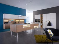 white and blonde wood kitchen blue feature wall | Interior ...