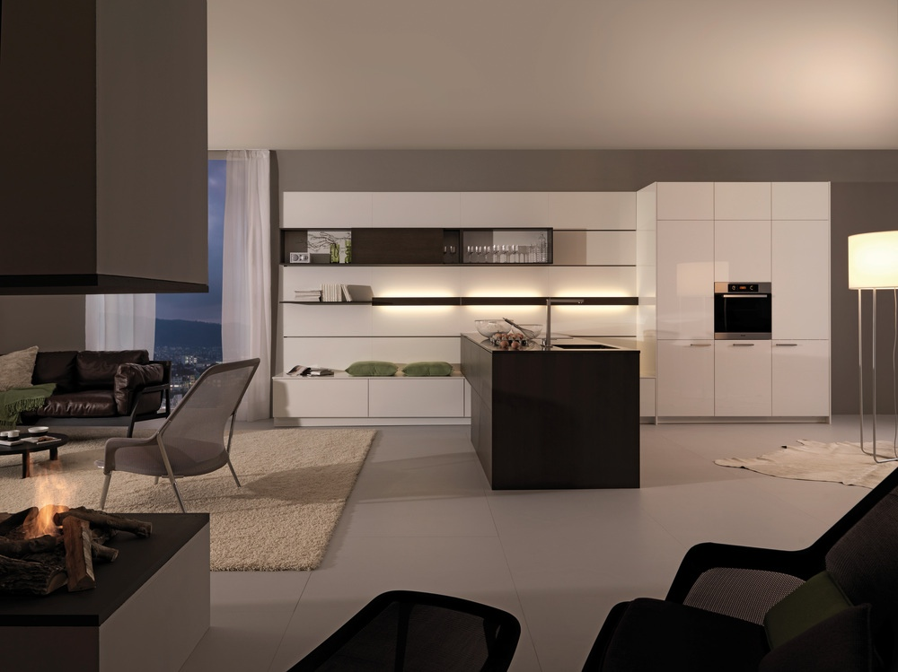 white and grey kitchen with wood look island  Interior Design Ideas