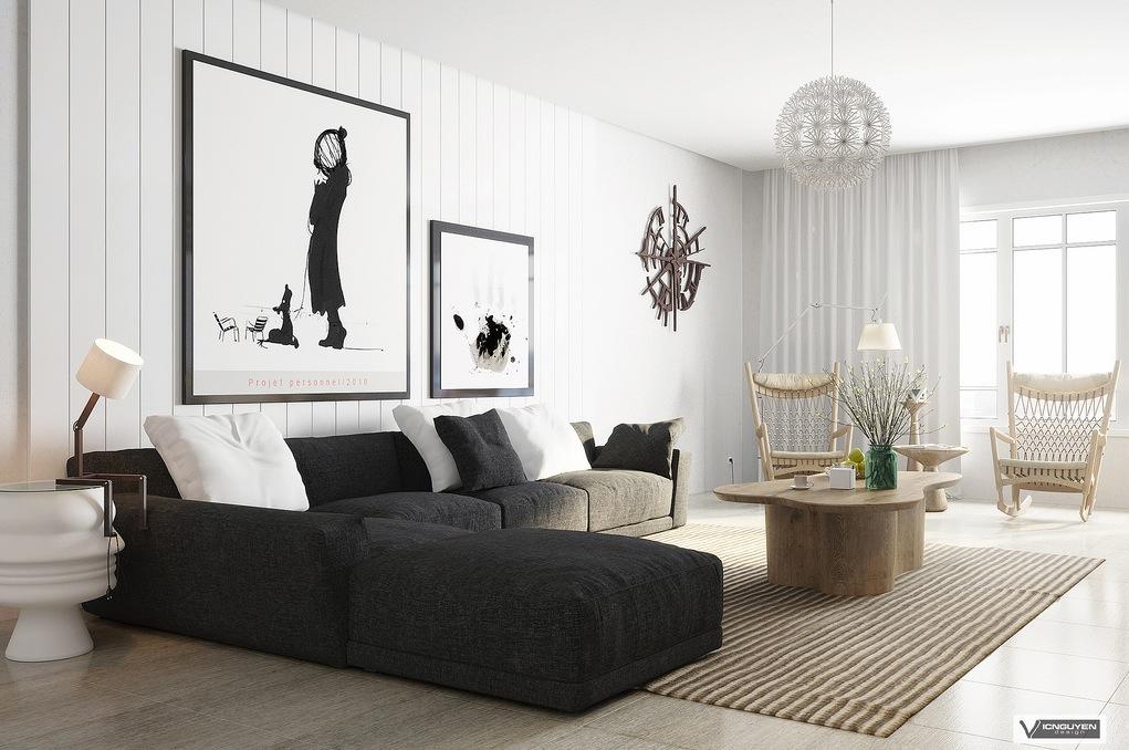 Monochrome Lounge With Organic Accents Interior Design Ideas