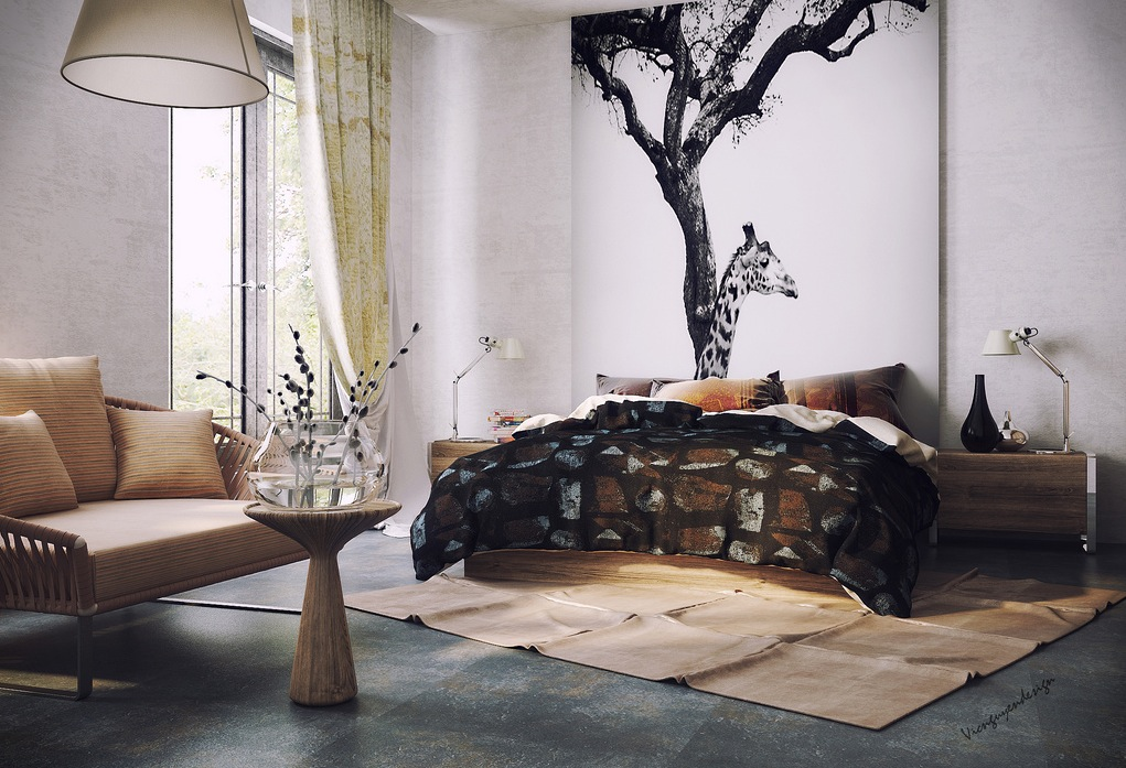 Organic Vibe Bedroom With Feature Wall Interior Design Ideas