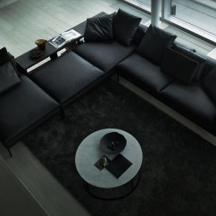 Black Sectional Sofa Room Ideas Retratil Reclinavel 1 Lugar Leather Interior Design