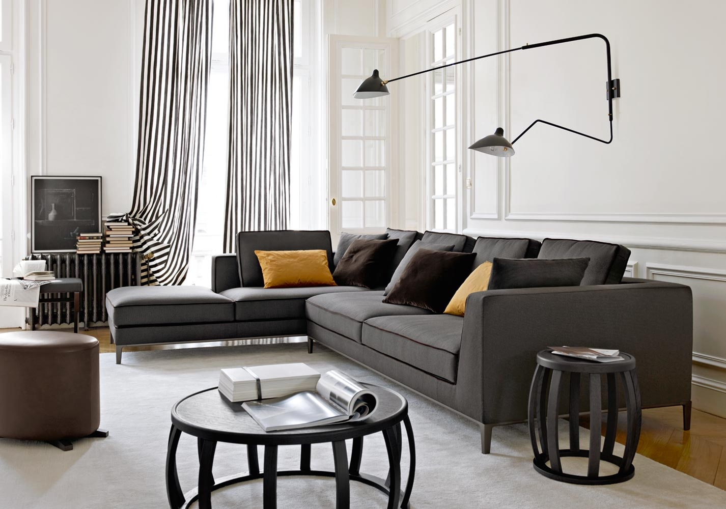 dark grey sofa styling sofas low cost lisboa gray sectional black trim accent pillows interior design