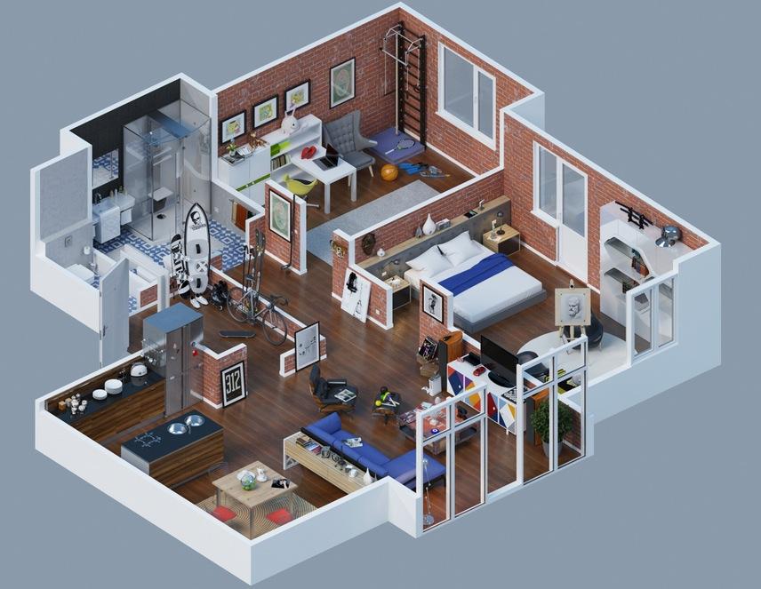 large apartment layout brick interior  Interior Design Ideas