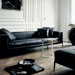 Black And White Leather Sofa Cream Velvet Sectional Long Interior Design Ideas