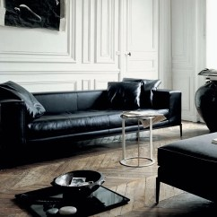 Black Leather Sofa Design Ideas Microfiber Cushions Long Interior