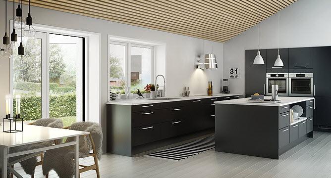 modern black and white kitchen  Interior Design Ideas