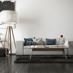 Light Grey Sofa With Dark Carpet Matching Recliner And Bed Spacious Modern Living Room Interiors