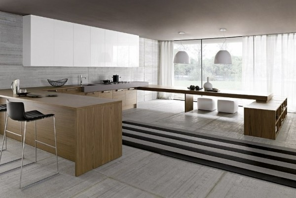 This elevated kitchen is Zen-like with its simple line, wood themes, and clean aesthetic.